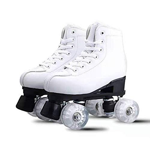 Alivisa Pattini a rotelle per Le Donne all'aperto, Doppia Fila 4 rotelle di Gomma Pattini Regolabile Roller Classic Leather Skate per Dimensione Adulta 4,5/5,5/6,5/7 /7.5/8/8.5/9.5/1.