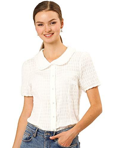 Allegra K Damen Kurzarm Bubikragen Button Rüschen Shirt Bluse Weiß S