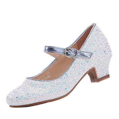 EIGHT KM Scarpe con Tacco Principessa Eleganti Lucente Comunione Cerimonia Ballerine Bambina Tacchi Ragazza EKM7015 Cinderella Azzurro 28