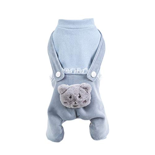 Balacoo Hund Winterkleidung Baumwolle Haustier Warme Pullover Katze Mäntel Kostüm Pjs Jacken Haustier Overall Versorgung für Hunde Welpen Katzen Blau XL
