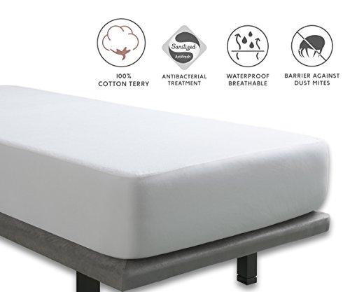 Tural - Antibacteriële Matrasbeschermer. Waterdicht, Luchtdoorlatend en Machinewasbaar. Badstof 100% katoen. Maat 160x190/200 cm. Voor Matrassen Van 30 cm Hoog.