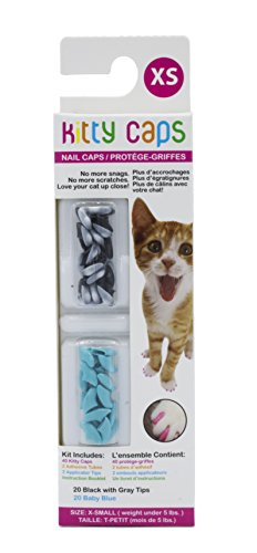 Kitty Caps Nail Caps for Cats | Safe, Stylish & Humane Alternative to Declawing | Stops Snags and Scratches, X-Small (Under 5 lbs), Black with Gray Tips & Baby Blue