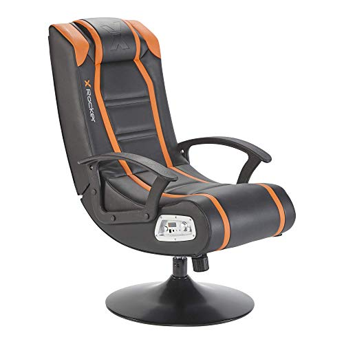 X-Rocker Veleno 2.1 Stereo Audio Junior Gaming Chair with Subwoofer, Leather Look Compact Folding Gaming Chair - Orange/Black