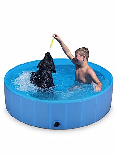 ShinePick Foldable Pet Dog Swimming Pool, Large Non-Slip Paddling Pool, Outdoor PVC Swimming Bathing Tub for Dogs Cats & Kids (120 * 30cm)