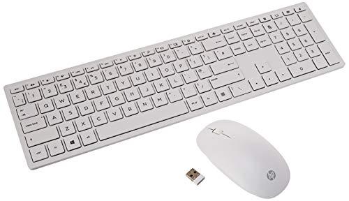 HP Pavilion 800 - Pack con teclado y ratón inalámbricos (delgado, estilizado, teclas optimizadas, indicador luminoso LED), Teclado español, Blanco