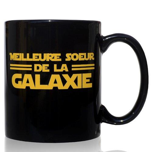 Tasse mug Petit-déjeuner de céramique noire 32 cl. modèle Meilleure Soeur de la Galaxie