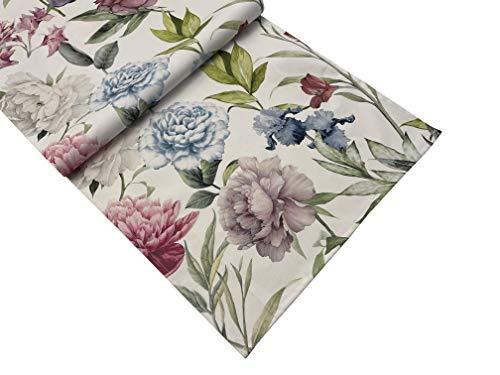 khevga Runner da tavola primaverile estivo, motivo floreale, 40 x 140 cm, 100% cotone (prati