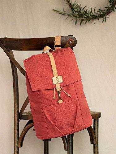 Rucksack aus Leinen, Rucksack aus rotem Stoff, Rucksack aus Baumwolle für den Alltag, Wanderoutfit, Alltagsrucksack für Männer und Frauen, Unisex-Textil-Rucksack