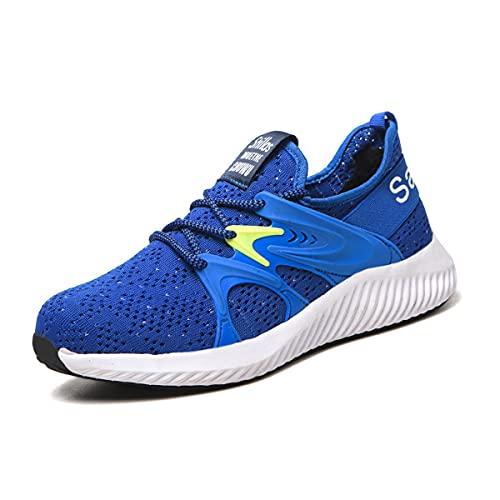 Aingrirn Zapatos de Seguridad Hombre Mujer, Punta de Acero Anti-Deslizante Respirable Zapatillas de Trabajo Zapatos de Industria y Construcción (Color : Blue, Size : 39 EU)