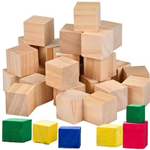 Mengger 200Pcs Naturale Cubi di Legno blocchi di legno intaglio scolpire mattoncini quadrati per Stampi Artigianato Stencil Alfabeto Progetti Numeri e Fai da Te 20mm 15mm 10mm