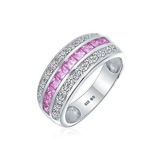 Art Deco Pink Simulated Tourmaline AAA Cubic Zirconia Half Eternity Channel Set Princess Cut CZ Dome 3 Row Wide Statement Wedding Band Ring For Women .925 Sterling Silver Comfort Fit 8MM