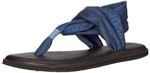 Sanuk Yoga Sling 2 Solid Vintage Flip-Flop, Sandalia para Mujer, Rayas Blue Heaven Shibori, 35.5 EU