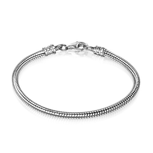 925 Sterling Silver Snake Chain Bracelet for European Bracelets Charms Bead