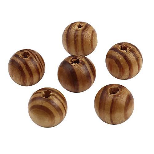 SiAura Material - 200 cuentas de madera de 12 mm con agujero de 2,6 mm, color marrón claro con rayas marrones, redondas, para manualidades, enhebrar y pintar.