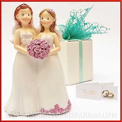 Figur BR E in Harz Paar Gay-Unionen bürgerlichen zwischen Frauen Gastgeschenk Hochzeit, Unionen bürgerlichen, Topper Kuchen kit 6 pz. Rosa in scatola
