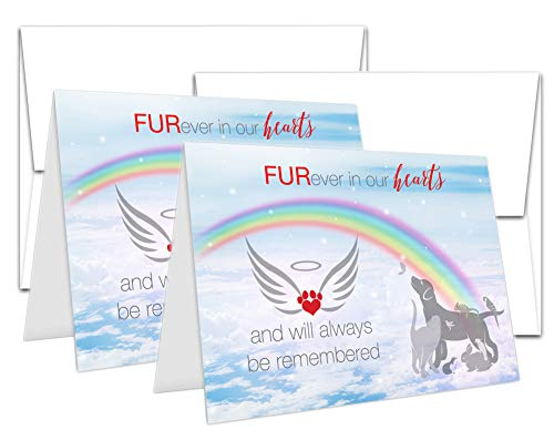 Trauerkarte für Haustiere, Regenbogenbrücke, Trauerbeileid, für Hund, Katze, Kaninchen, 2 Karten à 12,7 x 17,8 cm, mit Umschlägen (2 Karten und Umschläge)