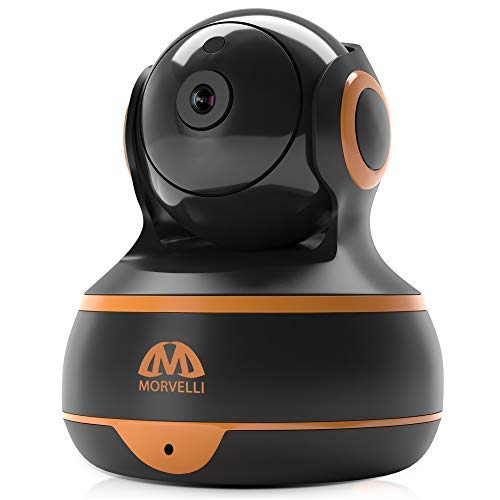 [New 2019] FullHD 1080p WiFi Home Security Camera Pan/Tilt/Zoom - Best Rated Smart App, Work with Alexa - Wireless IP Indoor Surveillance System - Night Vision, Remote Baby Monitor iOS (Black-Orange)