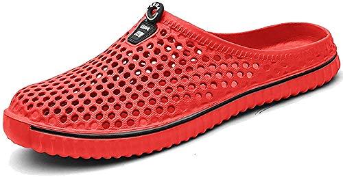 BIGU Hausschuhe Pantoffeln Atmungsaktiv Home Slipper Clogs Mesh Sommer Hohl Latschen Gartenschuhe Freizeit Badeschuhe Strand Aqua Slippers Flach Beach Wasser Schuhe Damen Herren, Rot, 43 EU