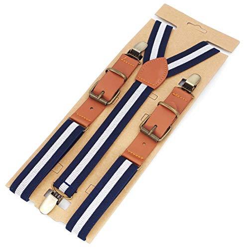 JJZZ tirantes Tirantes de Hombre Moda Mujer Tirantes Fuerte 3 Clips Boy Pantalones de PU Correa elástica tamaño 2.5 * 115cm