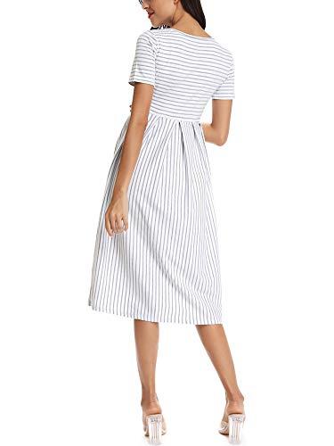 Love2Mi Vestido de maternidad para mujer, manga corta, a rayas, largo hasta la rodilla, en A, Rayas blancas grises., L