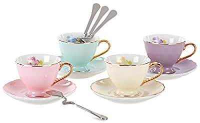 Jusalpha Fine China Coffee Bar Espresso Cups and Saucers Set, 7-Ounce TCS02-4COLOR (7 OZ)