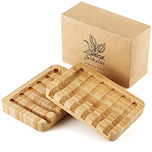 2 Pack Bamboo Wooden Soap Dish Holder, self draining soap case for Shower, Bathroom, Kitchen, Bath Tub, Razor, Sponges, Counter Top, Waterfall Drain Soap Dish Tray bar soap Saver