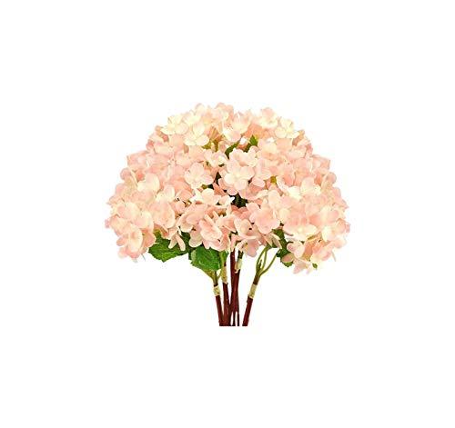 Luckylele Hydrangea Artificial Flores Tacto Real Pétalos y Hojas Tallo Largo Arreglo Floral para la Boda Party Nupcial Inicio Desagute DIY Decoración Floral 5 Tallos Decoración hogareña