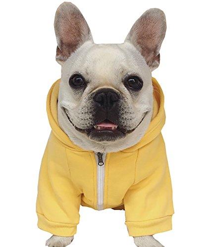 Moolecole Zip-up Hoodie Pet Costume Dog Hoodies Clothes Outfit Funny Pet Hooded Apperal for French Bulldog and Pug Yellow XL