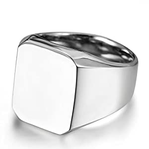 JewelryWe Schmuck Biker Edelstahl Herren-Ring, Glänzend Poliert Siegelring Quadrat Band Ring, Silber Größe 67 - mit Geschenk Tüte