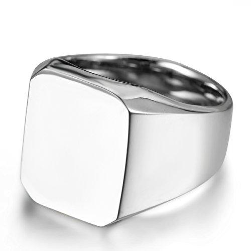 JewelryWe Schmuck Biker Edelstahl Herren-Ring, Glänzend Poliert Siegelring Quadrat Band Ring, Silber Größe 57 - mit Geschenk Tüte