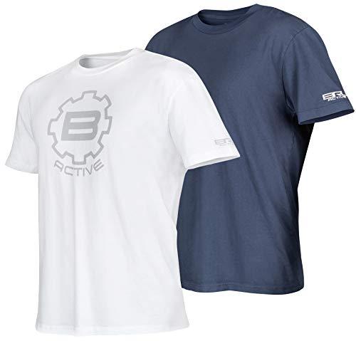BRU Active Premium Herren T-Shirt für Wandern, Kajak, Outdoor & Surf, 2 Stück, Blau und Weiß – Relaxed Fit - blau - Mittel