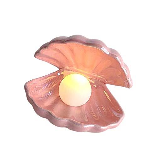 Garneck Luz de Perla de Concha Lámpara Led Luz de Noche de Cerámica Perla en Adorno de Escritorio de Concha para Decoración de Sala de Estar de Dormitorio (Rosa)