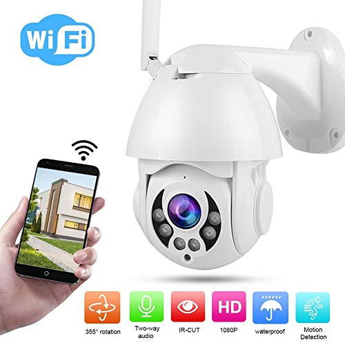 PTZ bewakingscamera voor binnen, 1080P bewakingscamera, WiFi CCTV IP-camera met 355 ° horizontaal + 90 ° verticaal + HD-camera + IR-nachtzicht + PIR-bewegingsdetectie + APP-bediening + waterdicht (EU)