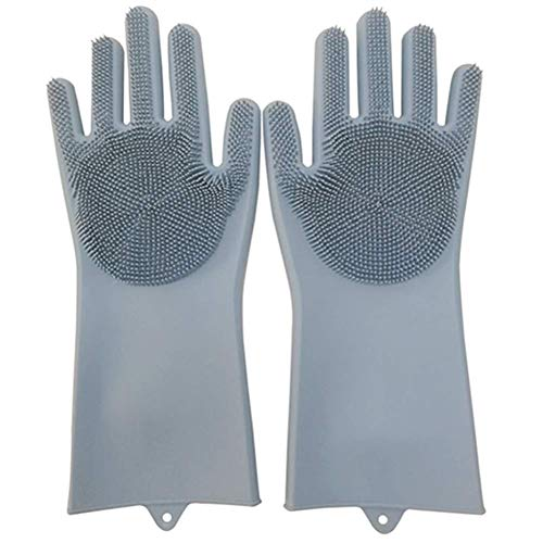 Trìmoto® Magic Silicone Dish Washing Gloves, Silicon Cleaning Gloves, Silicon Hand Gloves for Kitchen Dishwashing and Pet Grooming, Great for Washing Dish, Car, Bathroom (Multicolor, 1 Pair)