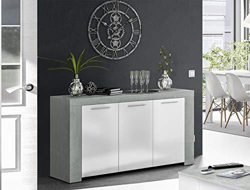 Dmora Credenza battenti e Tre Ripiani Interni, Ante di Colore artik, cm 144 x 42 x h80, Cemento e Bianco