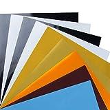 DesignSter Transferencia de Calor vinilo A4, 9 piezas de colores surtidos Transfer Film Works con la prensa del calor de la máquina o Home hierro en bricolaje, hojas adhesivas de vinilo