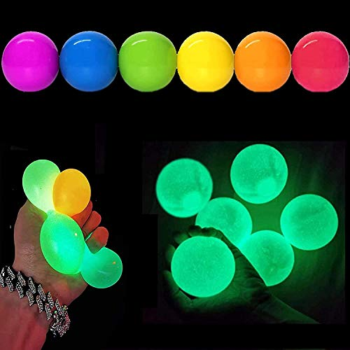 6Pcs Glow Stress Relief Balls Sticky Ball - Ceiling Luminescent Stress Relief Toy Wall Fluorescence Decompress Sticky Ball, Squeeze Vent Ball Fun Toy for Kids and Adults Fun Toy for ADHD, OCD, Anxiety