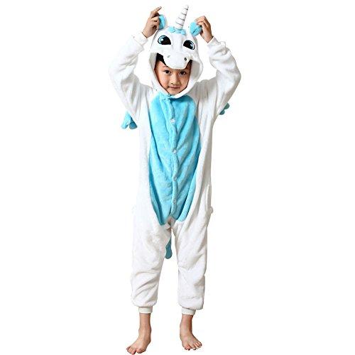 Missbleu Deguisement enfant pyjama combinaison animaux pyjama polaire enfant Licorne bleu taille 140