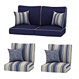 Creative Living 4PC Chat Group Outdoor Deep Seating Patio 24x24 Replacement Cushions with Decorative Pillows, Navy Mix