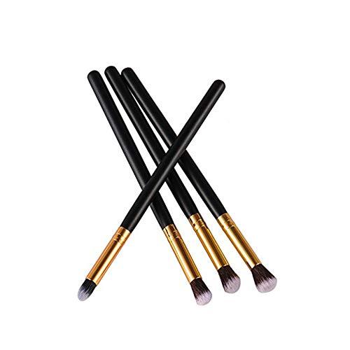 Beito 4PCS brosse de maquillage professionnel Set pinceaux de maquillage Indispensable pour fard à paupières Correcteur Eyeliner Brow Blending outil Pinceau pour femmes filles (Gold)