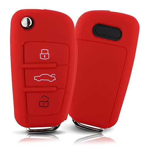 Tapa de la Llave Hecha de Silicona Premium Compatible con Audi, Funda Protectora para Llaves de Coche Cubierta para el Tipo de Clave 3BKB-b - Rojo