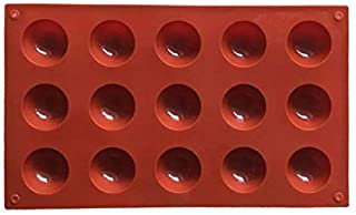 Grizzly 15 Half Sphere Silicone Mould Tray for Cake Or Chocolate Ball Dome Shape (3.8 cm Diameter of Each Cavity, Multicolor)