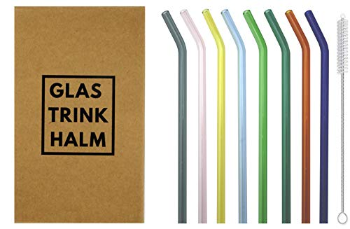 Set di cannucce in vetro lunghe e colorate – curve, composto da 8 cannucce colorate curve da 21 cm x 8 mm Φ. Sostenibile, insapore e lavabile in lavastoviglie. In bella confezione, ideale da regalare.