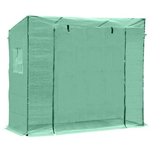 Outsunny Serre de Jardin 200L x 77l x 170H cm Acier PE Haute densité 140 g m² Anti-UV avec Porte zippée déroulante et fenêtres Vert