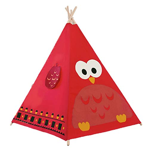 HWH Indian Tent Teepee for Child, Lightweight Play Tent with Solid Wood Stand Owl - Zebra - Giraffe Playhouse for Kids Game house ( Color : Red , Size : 120*120*140CM )