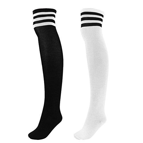 CHIC DIARY Damen Mädchen Kinder Strümpfe Overknee Kniestrümpfe gestreifte Sportsocken College Socks Baumwollstrümpfe, Schwarz Streifen auf Weiß+weiß Streifen auf Schwarz, Einheitsgröße