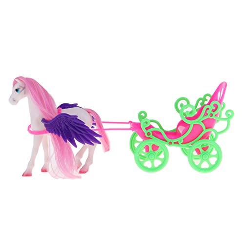 Hellery 1/6 Colorido Caballo de Plástico con Alas Y Carruaje para Niños