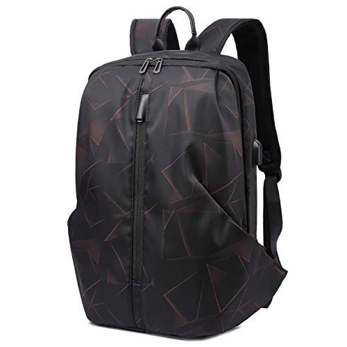 HYZUO 15.7 Inch Laptop Backpack with USB Charging Port Anti-Theft Water Resistant Soft Business Travel School Bag, Black Geometry