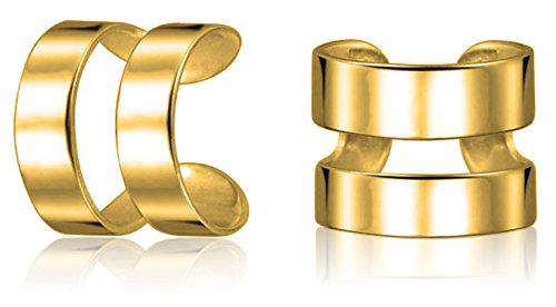 Unisex Minimalistische Split Band Knorpel Ohr Manschette Ohrstulpe Ohrringe Nicht Durchbohrt 14K Vergoldet 925 Silber