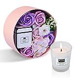 ANBET Femmes Savon Fleur Boîte Ronde avec Bougies Parfumées Rose Artificielle et Cire Végétale Naturelle Aromathérapie Bain Cadeau pour Noël, Anniversaire, Saint Valentin, Fête des Enseignants